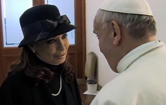 Pope Francis with Argentine President Cristina Fernández de Kirchner