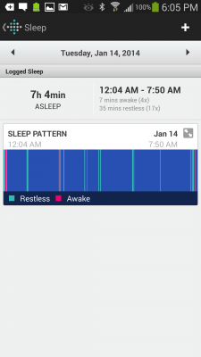 Sleep tracking graph on Fitbit Android App