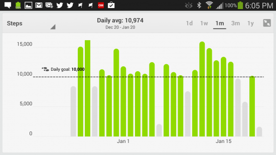 Daily steps taken with Fitbit, displayed on the Android App