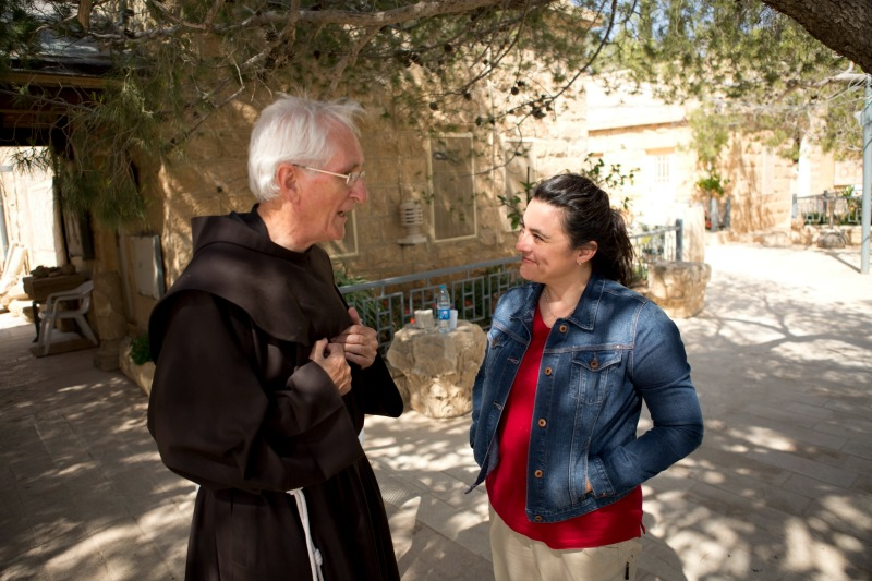 Speaking with Rev. Fergus Clarke, OFM, Superior of Shrine at Mt Nebo, Jordan. Courtesy of The Faithful Traveler. Used by permission. All rights reserved.