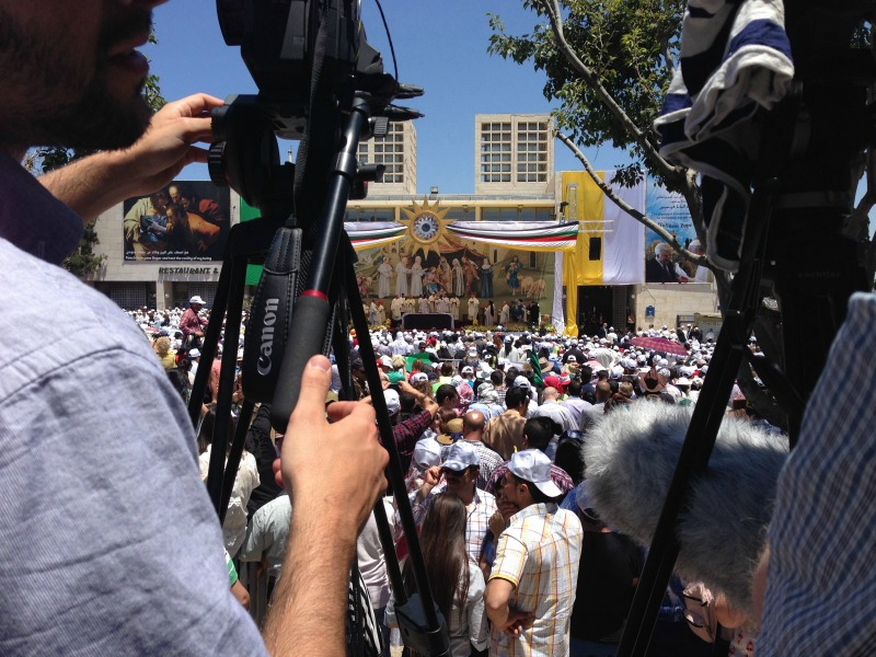 Filming the Papal Mass in Bethlehem. Courtesy of The Faithful Traveler. Used with permission. All rights reserved.