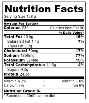Nutrition information for Teriyaki Salmon