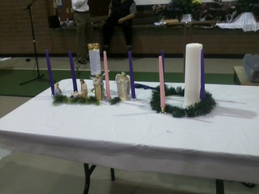 Both of my Advent wreaths before a recent talk.