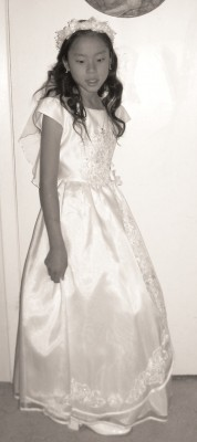 Judith's daughter Brigit, at her First Communion in 2008