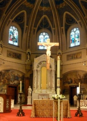 The altar at Holy Family Parish where I had my throat blessed.