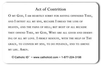 Back of Catholic ID card