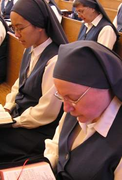 Daughters of St. Paul pray in chapel at the Boston location.