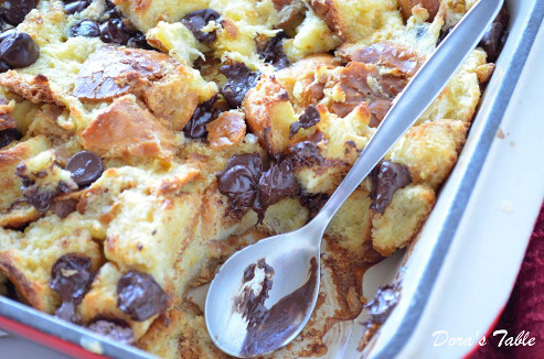 Chocolate Chip Challah Bread Pudding