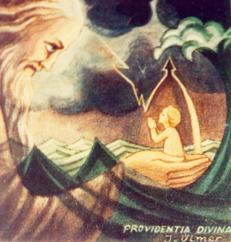 """Detail from cover of novena booklet titled """"Mensagem da Fé Prática na Divina Providência."""" Photo by author."""