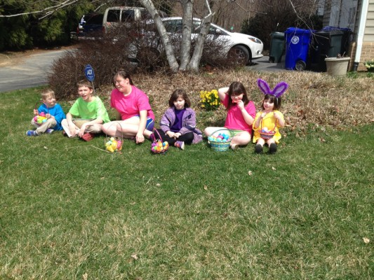 Six of my ten bunnies, just after the Easter Egg Hunt.