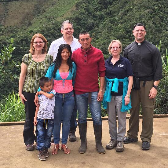 Our CRS Media Team with Fedencio, an award winning coffee producer from Linares, who proves that the work being done by CRS' Borderlands Coffee project is a worthy investment! Our CRS Rice Bowl gifts go to help foster the work of coffee producers like Fidencio.