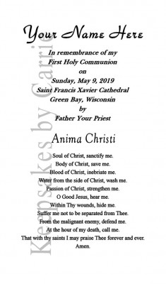 first communion gift holy card personlaized back