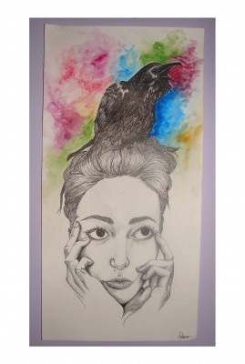 girls with a raven on her head