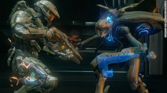 "In Halo 4, a human in a battle suit fights ""aliens"" who don't even have blood spatter. They disintegrate."