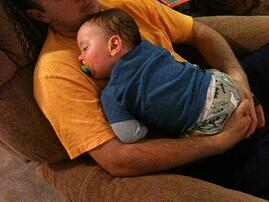 nap on daddy's chest 15mos