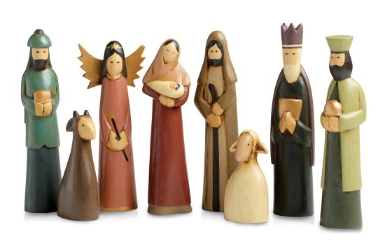 ndonesian Folk Nativity, $42 Hand carved from Alstonia, a tropical evergreen tree native to Indonesia, this contemporary nativity features eight figures, simply ornamented and painted in muted tones. A SERRV exclusive. tallest figure: 7in Fair Trade Fund photo: photo credit: Courtesy of SERRV.