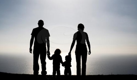 parents and children sillouette