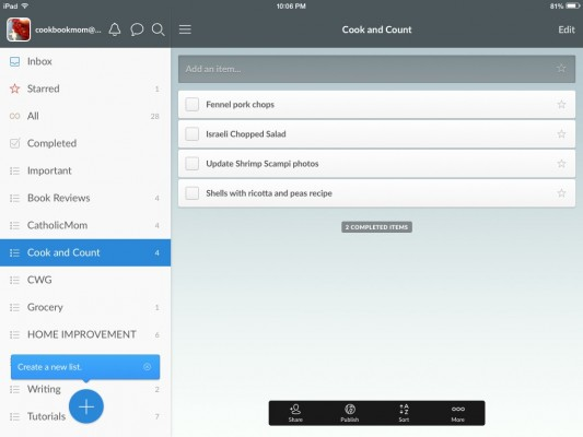 Screen capture of Wunderlist app for iPad. Copyright Barb Szyszkiewicz 2015. All rights reserved.