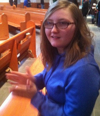 Danielle is out of the crying room and in the pew where she belongs!