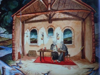 St. Benedict and St. Scholastica meet together to discuss the holy life. From The Life of St. Benedict by Br. John McKenzie.