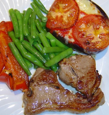 pork chops veggies