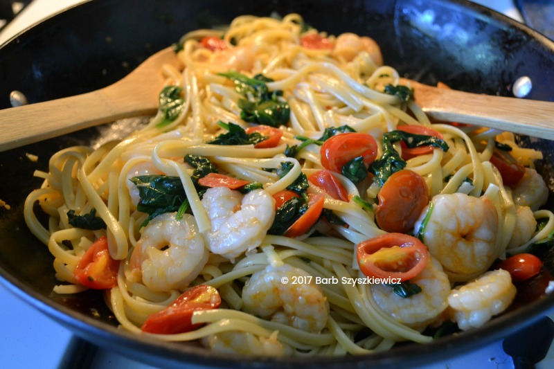 """""""Meatless Friday: Shrimp with Garlic, Tomatoes and Spinach over Pasta"""" by Barb Szyszkiewicz, OFS (CatholicMom.com)"""