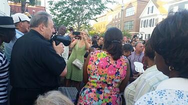 The Catholic Community gathered with the Bishop to pray the rosary for the Charleston nine.