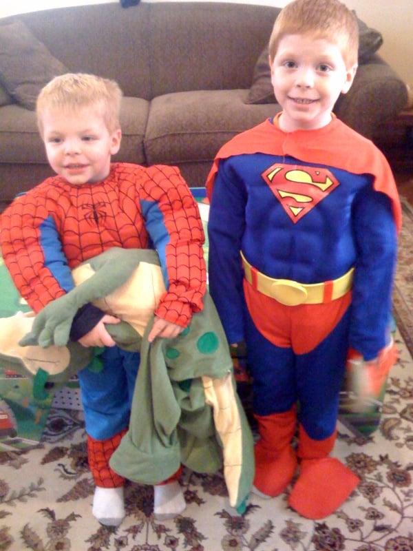 My nephews, Spiderman (Tyler) and Superman (Evan)
