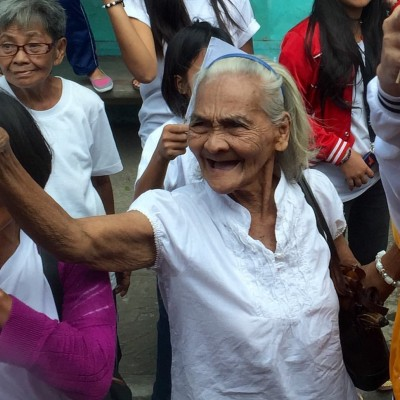 An Unbound Elder friend and participant greets us along the road in Legazpi.