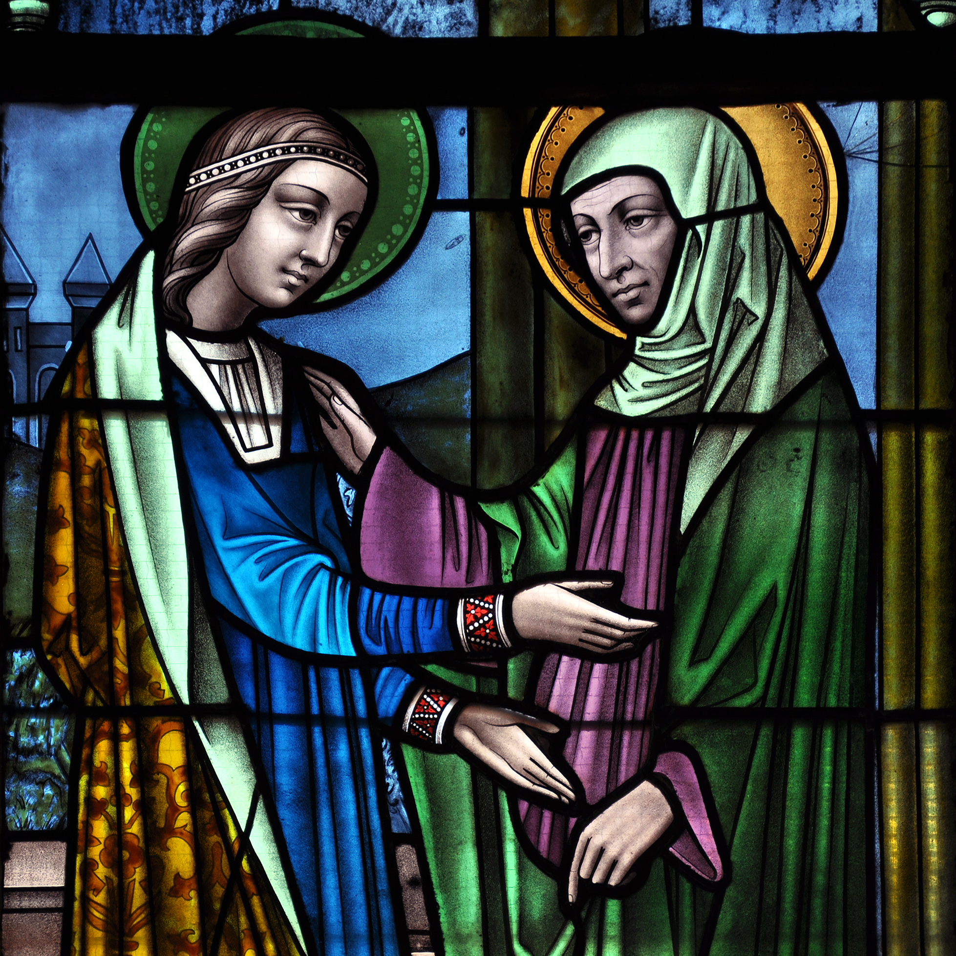 Liège_Eglise_saint-Jacques_Vitrail: stained glass window depicting the Visitation