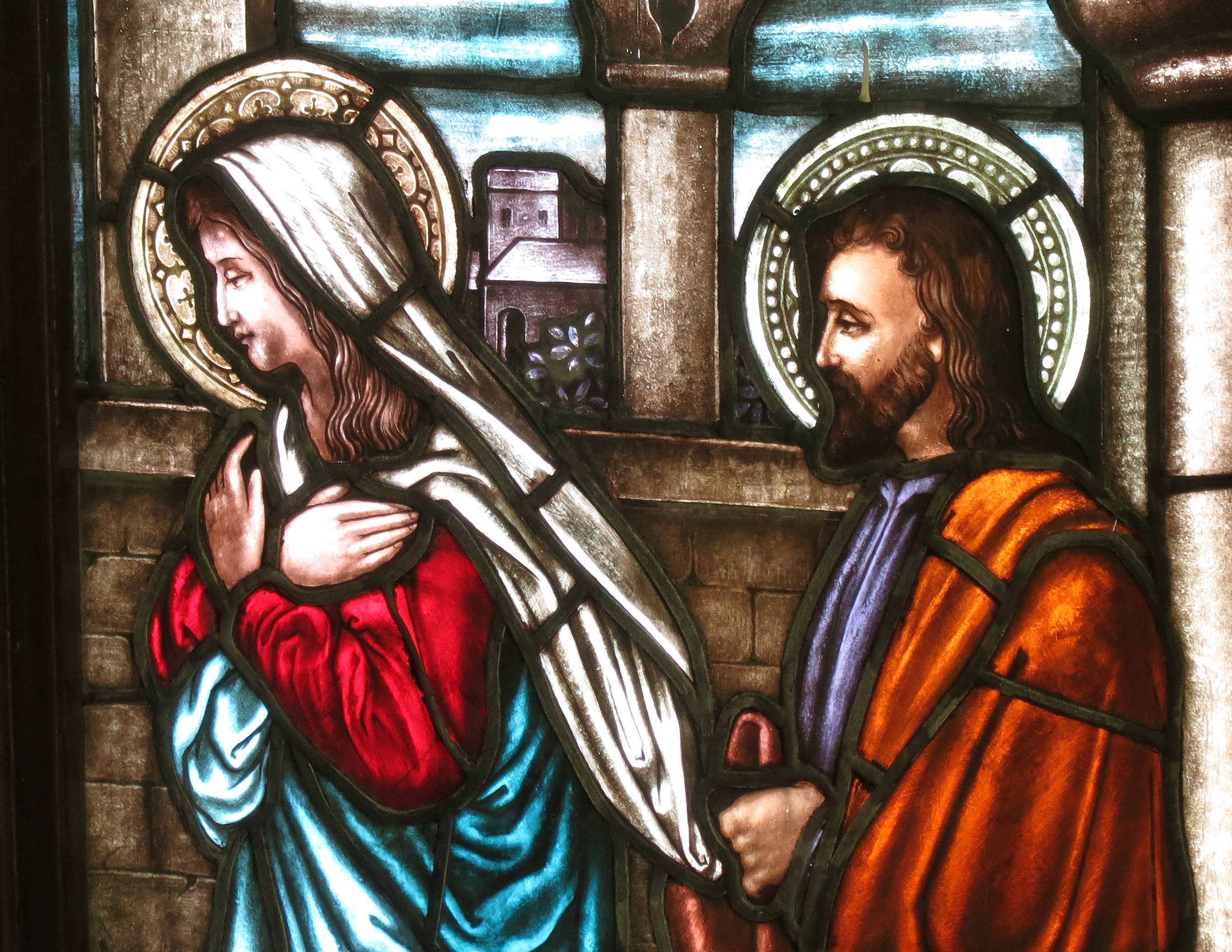 Saint_Bernard_Catholic_Church_(Corning,_Ohio)_-_stained_glass,_Presentation_of_the_Lord_detail_-_Mary_&_Joseph