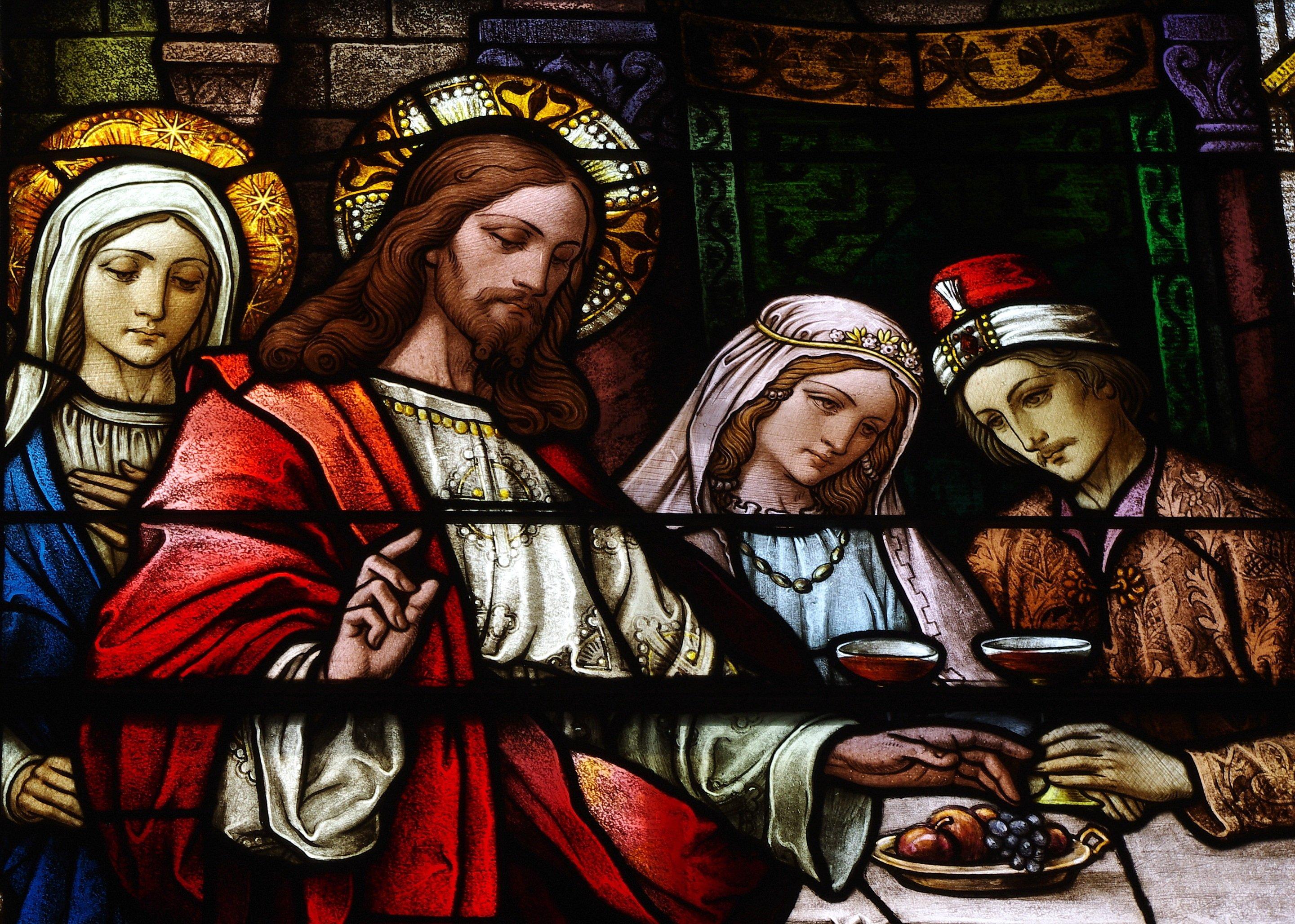Saint_Bernard_Church_(Burkettsville,_OH)_-_clerestory,_the_Wedding_at_Cana,_detail