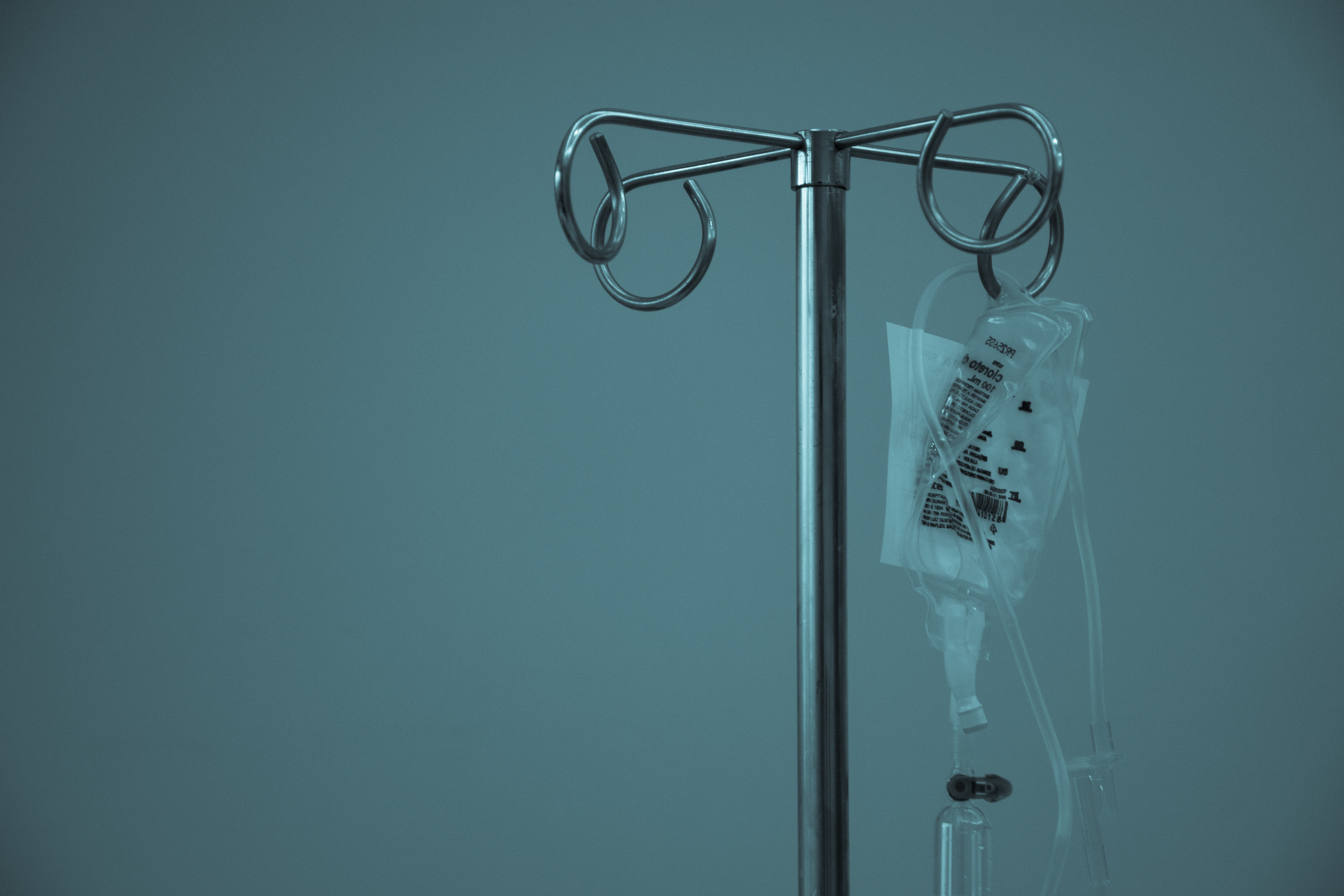 IV bag hanging from pole